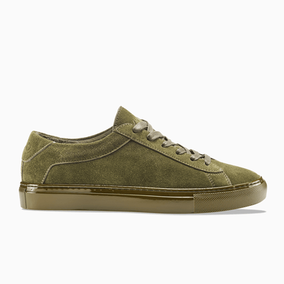 Women's Low Top Suede Sneaker in Green | Capri Thyme | KOIO
