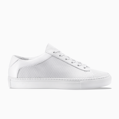 Men's Low Top Leather Sneaker in White | Capri White Perforated | KOIO