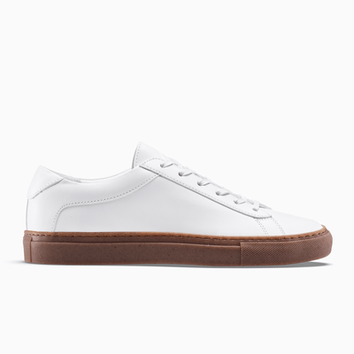 Women's Low Top Leather White Sneaker with a Gum Sole | Capri White Gum | KOIO