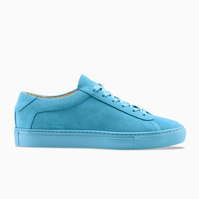 Men's Low Top Leather Sneaker in Blue | Capri Turquoise | KOIO
