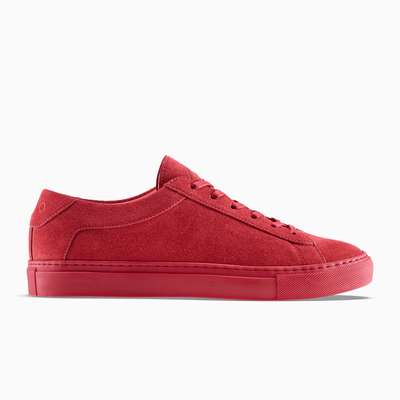 Women's Suede Low-Top Sneaker in Red | Capri Vermilion | KOIO