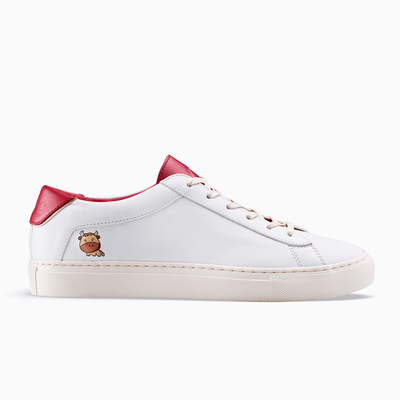 Women's Low Top Leather Sneaker in White and Red | Lunar New Year | KOIO
