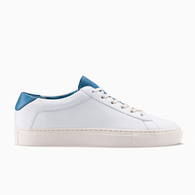 Women's Low Top Leather Sneaker in White and Blue | Capri White Turquoise | KOIO