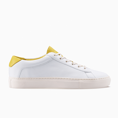 Women's Low Top Leather Sneaker in White and Yellow | Capri White Yellow | KOIO