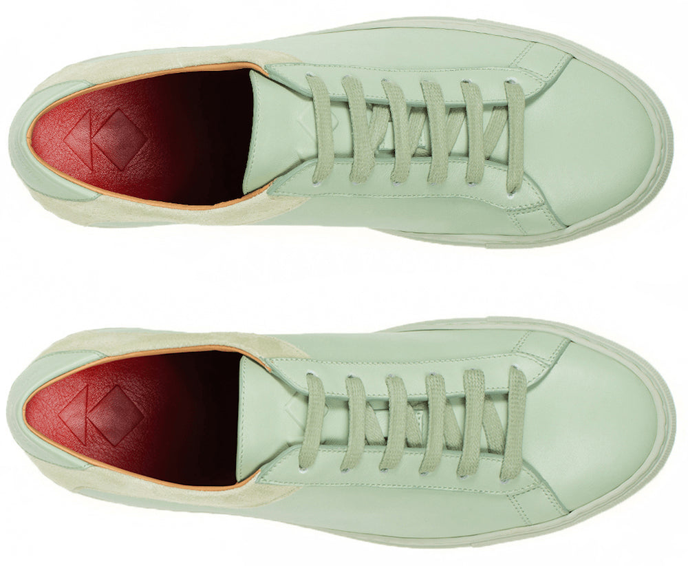 ab58cdb913b070 Handmade in Our original low-top sneaker in exquisite Vitello leather and  camoscio suede.