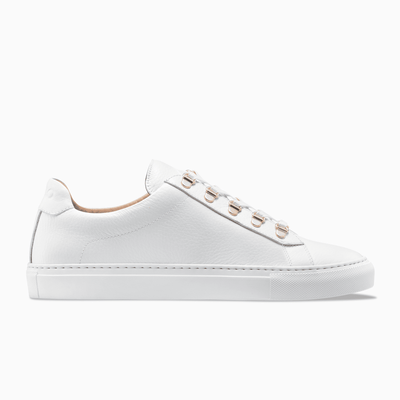 White Low Top Leather Sneaker White Sole Mens Koio
