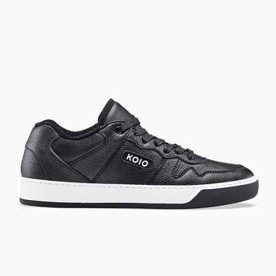 Men's Low Top Leather Sneaker in Black | Metro Black | KOIO