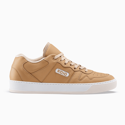 Men's Low Top Leather Sneaker in Brown | Metro Caramel | KOIO