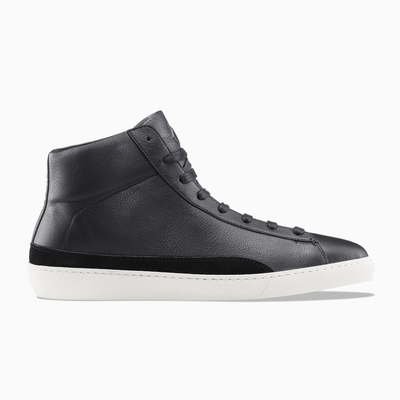 Men's High-top Leather Sneaker in Black | Verse Black | KOIO
