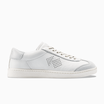 Men's Low Top Leather Sneaker in Grey and White | Tempo Grey | KOIO
