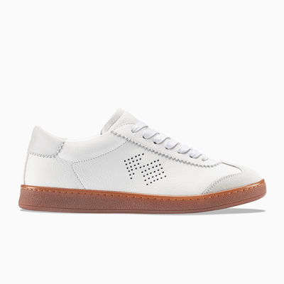 Men's Leather Sneaker in White and Grey | Tempo Grey Gum | KOIO