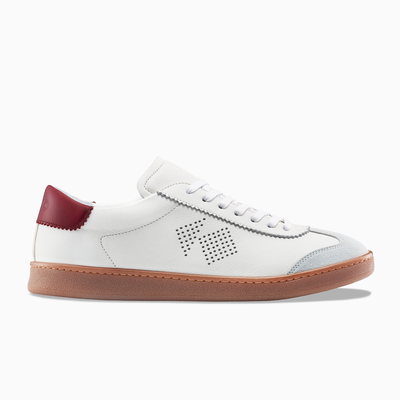 Men's Low Top White Leather Sneaker - The Tempo - KOIO