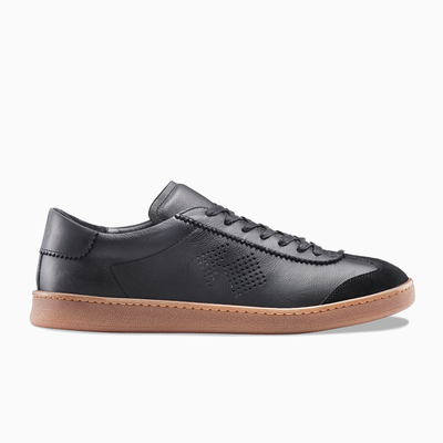 Women's Low Top Black Leather Sneaker | Tempo Nero | KOIO