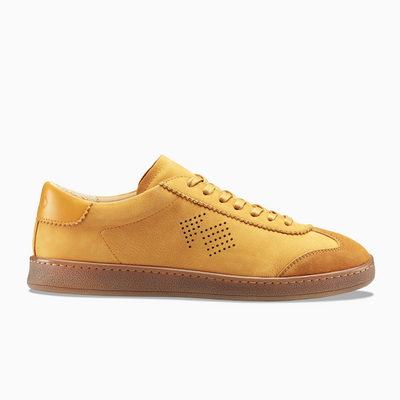 Men's Low Top Nubuck Sneaker in Yellow | Tempo Saffron | KOIO
