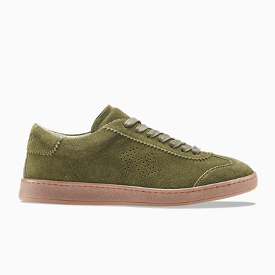 Women's Low Top Suede Sneaker in Green | Tempo Thyme | KOIO
