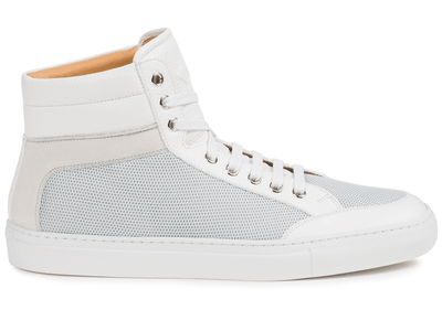 Our signature high-top in flawless pebble-grain leather, soft calfskin suede, and 3D mesh