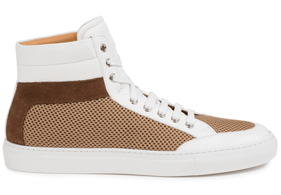 Our signature high-top in flawless pebble-grain leather, soft calfskin suede, and 3D mesh.