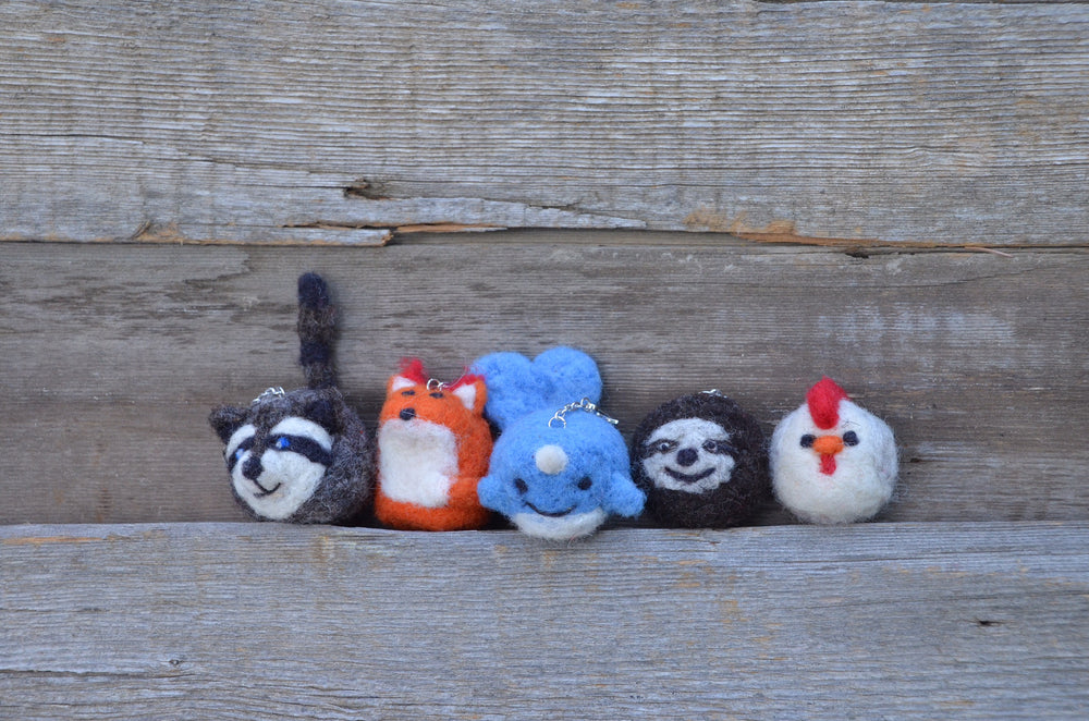 Needle felted key chains