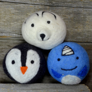 Winter friends dryer balls, made in Canada