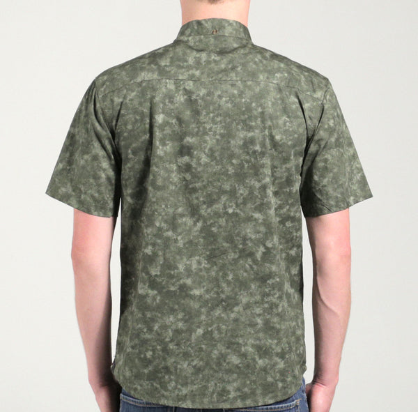 Marbled Short Sleeve Button Down Green