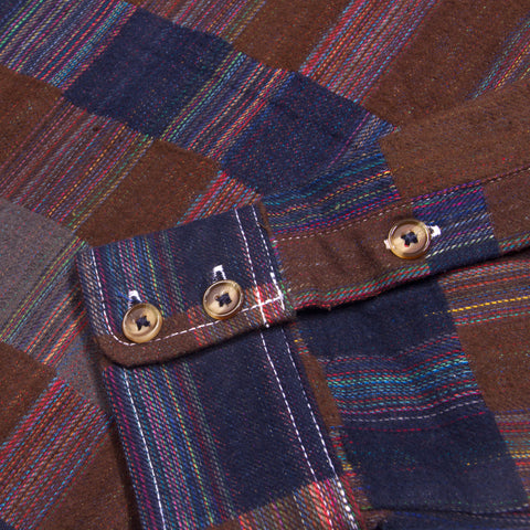 Mixed Plaid Button Down Brown and Navy