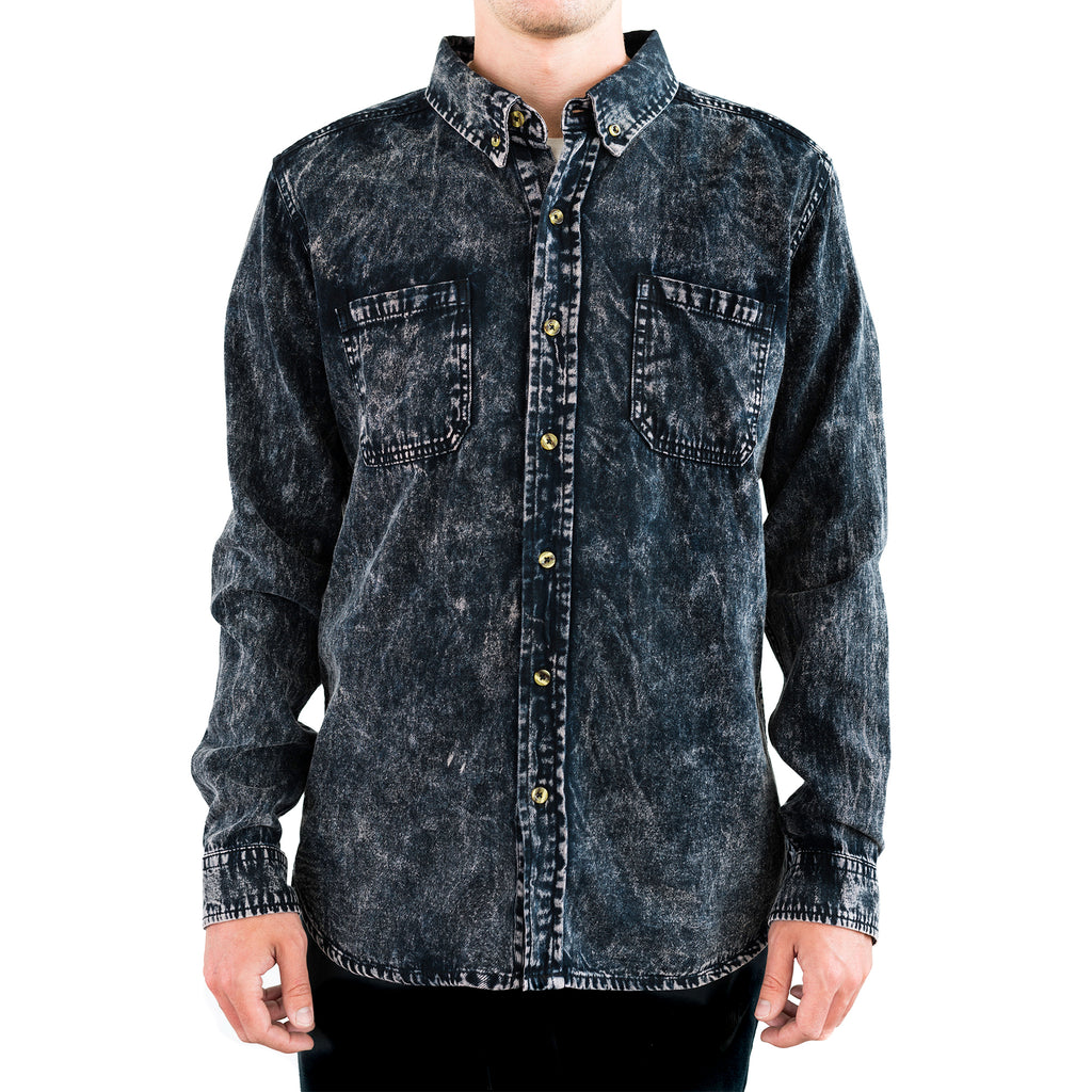 Costilla Enzyme Washed Button Down - Arctic Grey