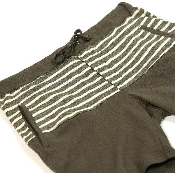 French Terry Striped Sweatshorts Green