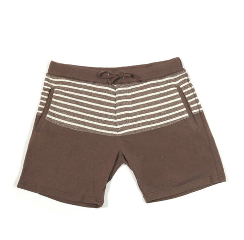 French Terry Striped Sweatshorts Brown