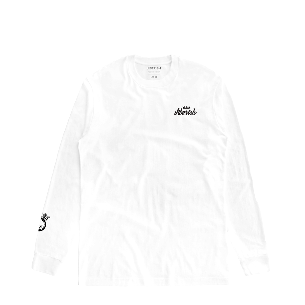 Mini Script Long Sleeve White