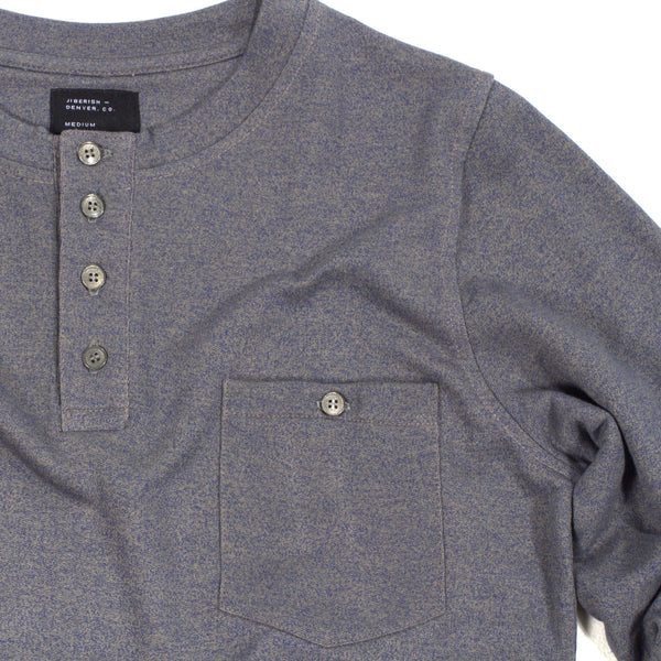 French Terry Long Sleeve Pocket Tee Grey