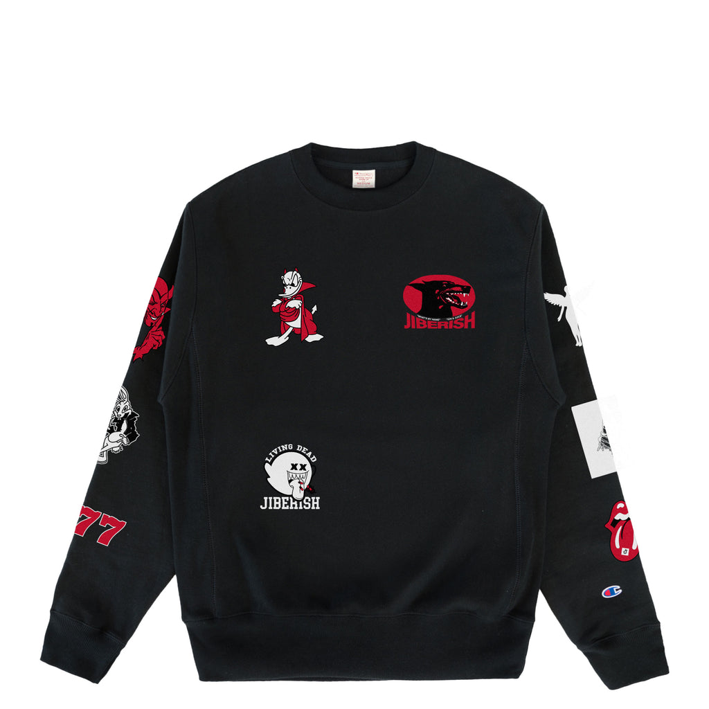 Champion Reverse Weave All Over Crew Black