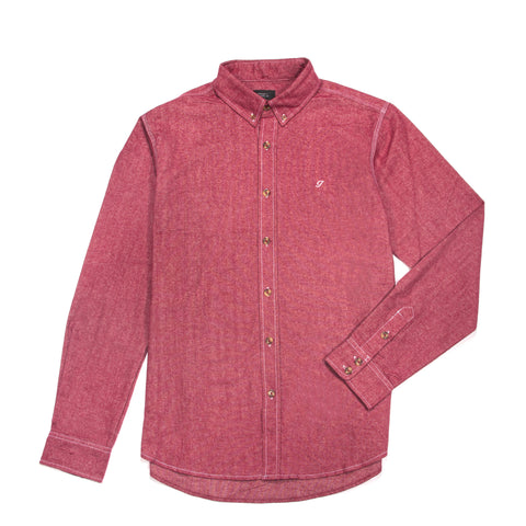 Brushed Cotton Oxford Button Down Red