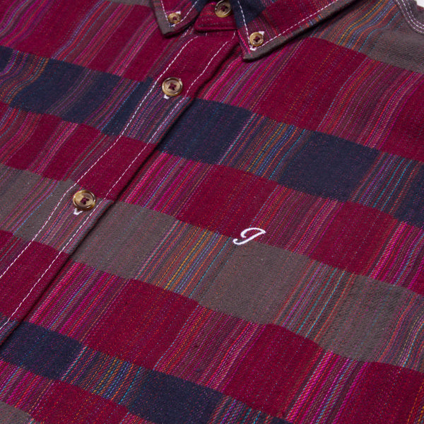 Mixed Plaid Button Down Maroon and Navy