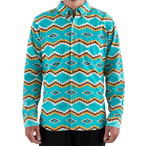 Shiprock Flannel Button Down  - Turquoise