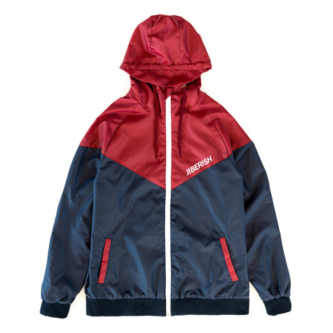 Chevron Windbreaker Navy/Burgundy