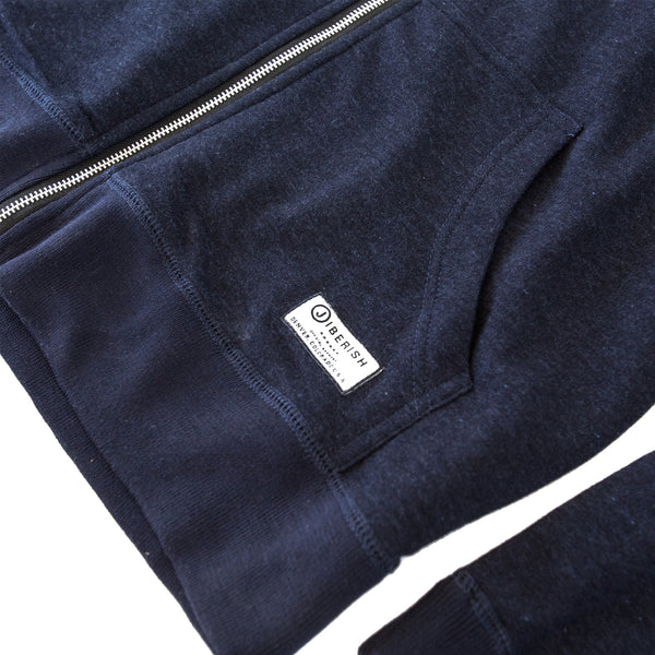 Essential Zip Hoodie Heathered Navy