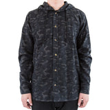Hooded Camo Flannel Charcoal