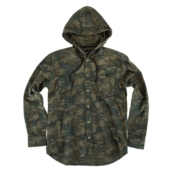 Hooded Camo Flannel Military Green