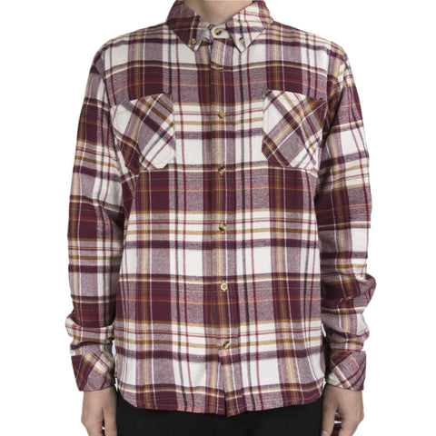 Cabin Flannel - Maroon, Tan and White