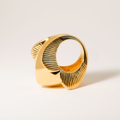 Lomasi Chunky 18k Gold Statement Ring - Angle | Women's Jewelry | cocheta.net