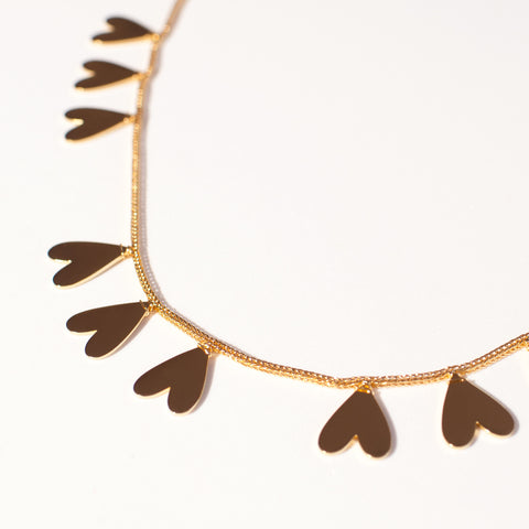 Akoma Brass Heart Statement Necklace – Detail / Women's Jewelry / cocheta.net