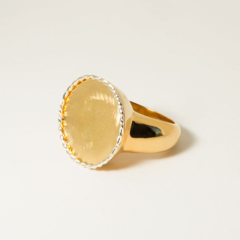 Riata 18k Gold Signet Ring - Angle | Women's Jewelry | cocheta.net