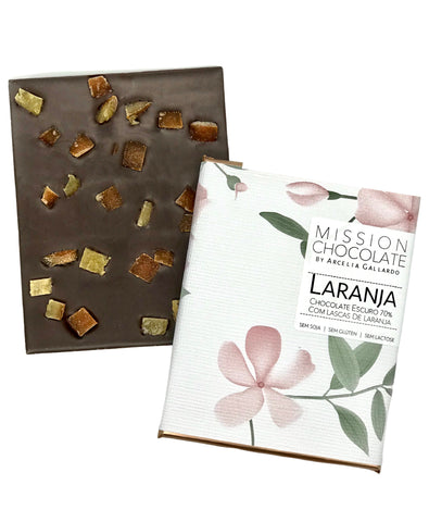 Barra de Laranja 70% da Mission Chocolate