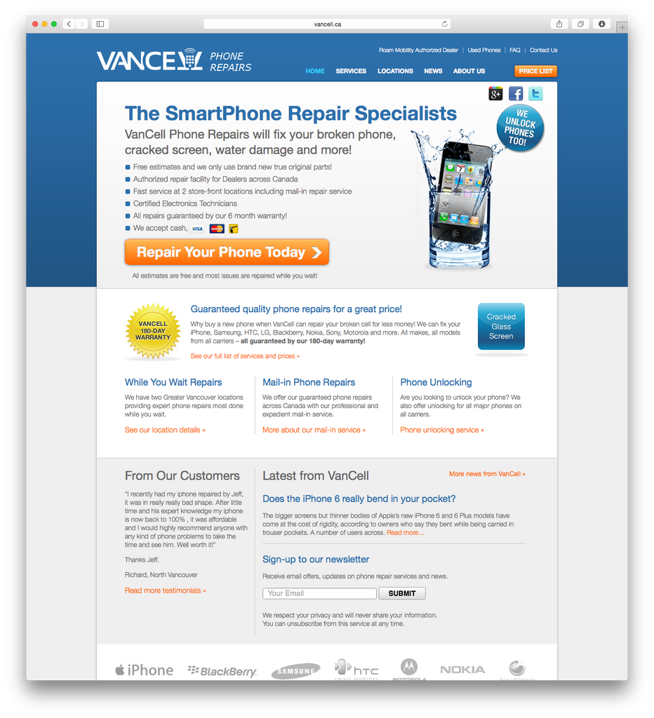 vancell cell phone repair vancouver bc iphone blackberry samsung android nokia motorola htc
