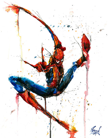 Watercolor painting of the Amazing Spiderman by Geoff Pascual