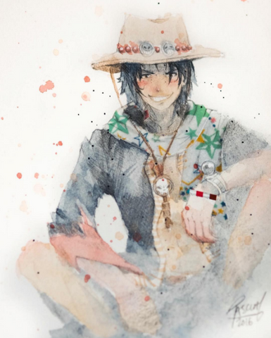 Watercolor paint study of Ace from the anime One Piece by Geoff Pascual