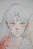 Original watercolor painting of Sesshomaru face detail