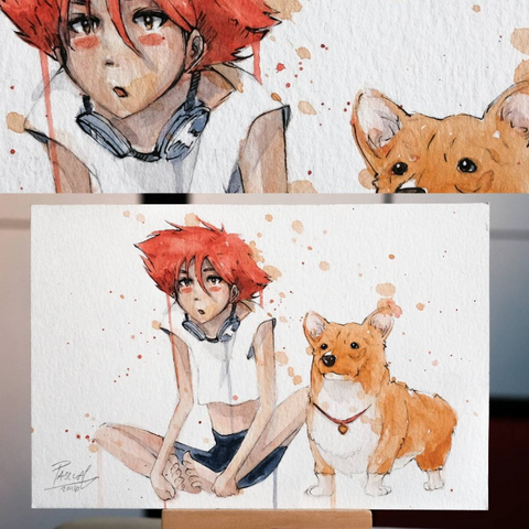 Watercolor paint study of Ed and Ein from the anime Cowboy Bebop by Geoff Pascual