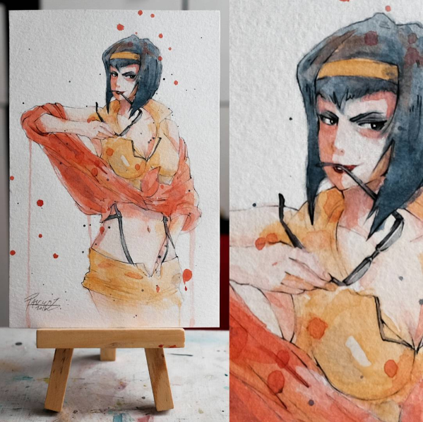 Watercolor paint study of Faye from the anime Cowboy Bebop by Geoff Pascual