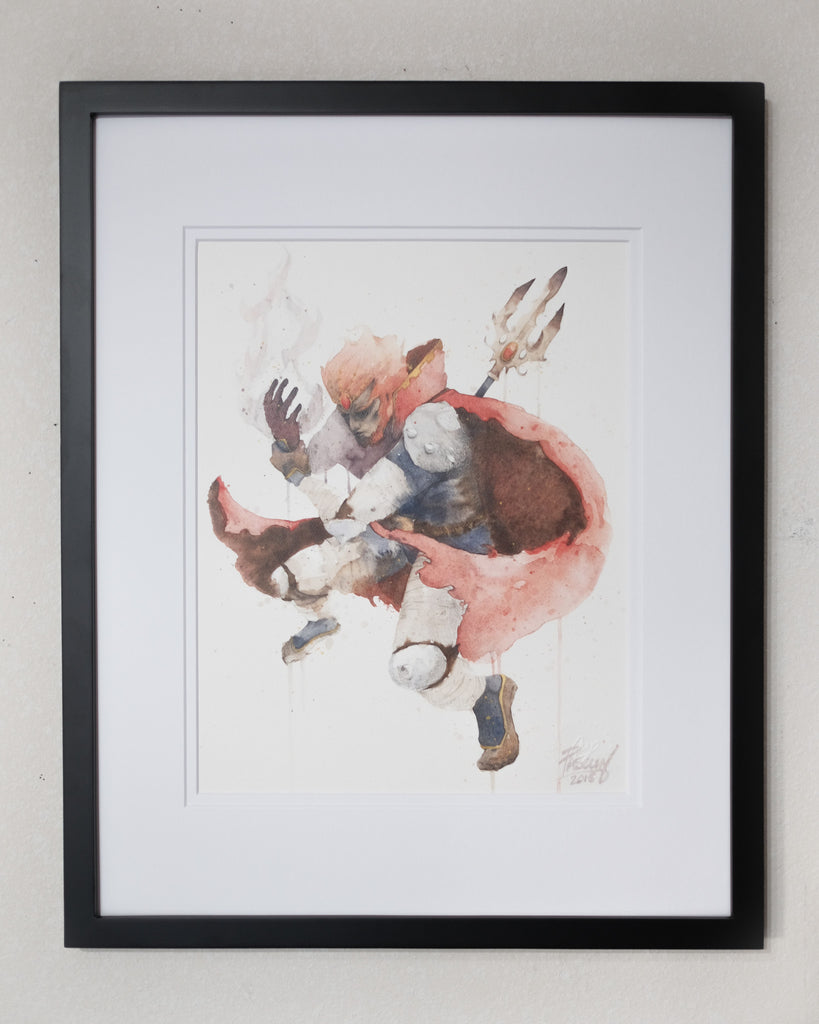 Framed watercolor painting of Ganon from Legend of Zelda, painted by watercolor artist Geoff Pascual.
